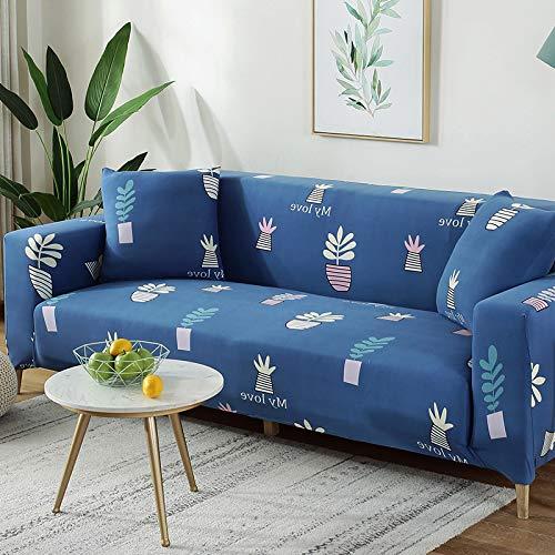 XVBABY Jacquard-Stretch-Sofabezugelastische Lazy Universal-Sofabezug, All-Inclusive-Universal-Anti-Rutsch-Sofabezug Für Vier Personen (235-300 cm) Mit Vier Topfpflanzen