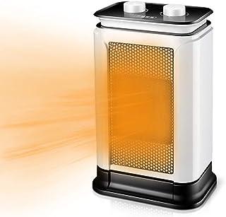 Bcamelys Luxus - Calefactor con botón eléctrico (1500 W, cerámica, ahorro de energía, sistema de seguridad de sobrecalentamiento e inclinación, 3 niveles de potencia, para casa, oficina, dormitorio)