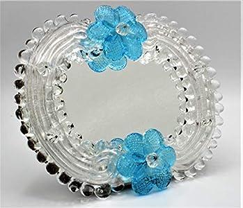 Espejo veneciano de cristal de Murano Made in Italy 14 x 17 plata y azul