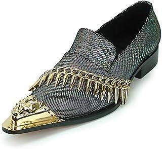 Fiesso by Aurelio Garcia FI-7092 Silver Leather Metal Tip Slip on - European Shoe