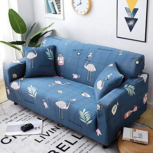 Funda Sofas 2 y 3 Plazas Flamenco Azul Fundas para Sofa con Diseño Elegante Universal,Cubre Sofa Ajustables,Fundas Sofa Elasticas,Funda de Sofa Chaise Longue,Protector Cubierta para Sofá