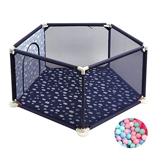 LRZLZY Cerca de bebé con el rastreo de Amortiguador 200 Bolas, 5 Panel de Arrastre del bebé del Juego de la Cerca, Hogar de Niños portátil Niño Gota Valla 66cm Alto (Color : Blue)