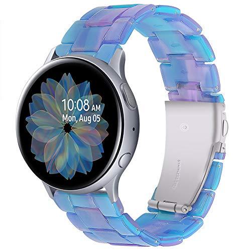 Miimall Compatible con Samsung Galaxy Watch Active2 44 mm 40 mm / Galaxy Watch3 41 mm pulsera de resina ultraligera de 20 mm Resina de repuesto Sport impermeable para Galaxy Watch 42 mm – Azul claro