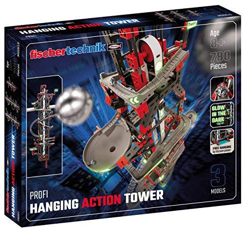 Fischertechnik 554460 Hanging Action Tower-ab 8 Jahren-die weltweit erste Kugelbahn, die an Regalen und Schränken befestigt Werden kann-das größte 96cm hoch-3 Modelle inkl. Easy Elevator