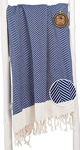 ZusenZomer Fouta Playa Toalla Turca XXL 'Dilan' Azul Oscuro | Diseño Exclusivo Extra Largo, 95x210 cm | 100% Algodón, con Motivo de Espigas