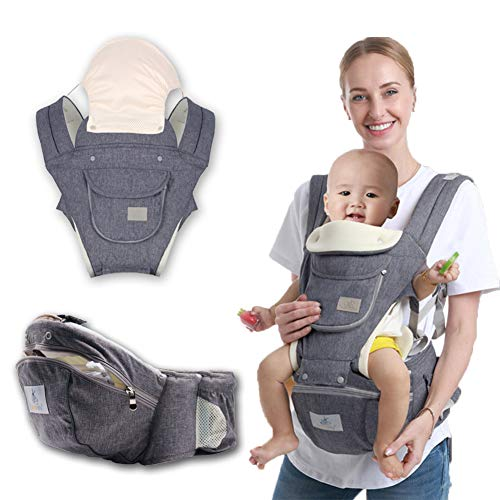 COBROO Soft Baby Carrier with Hip Seat 3-in-1, Ergonomic Carrier Seat, Soft and Breathable Baby Carrier with waist Support, Large Capacity Storage Bag Suitable for 3-18 Month Baby Outdoor Travel