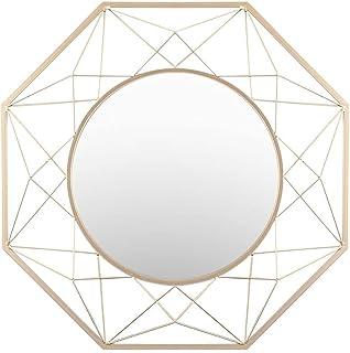 Geometric Shaped 8-Sided Wall Mirror Decorative Vanity Mirror Gold Frames