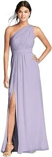 Long Chiffon Bridesmaid Dress with Asymmetric Neckline Style F18055