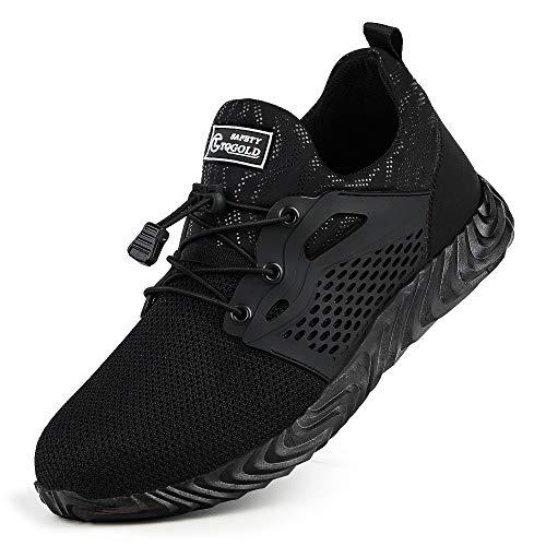 TQGOLD Chaussures de sécurité Homme Femme Chaussures de Travail Basket de Securite avec Embout Acier Protection Respirantes légèr(Noir-830,43 EU)