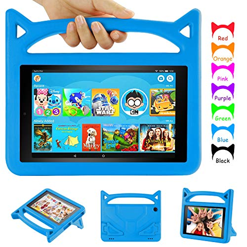 Fire HD 8 Tablet Case, Fire 8 Kids Case - Auorld Kid-Proof Case with Stand for Amazon Fire HD 8 inch Tablet (Compatible with 2018/2017/2016 Release,Not Fit for 2020 Release)-Blue