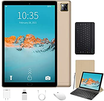 5G WiFi Android 10.0 Tablets 10 Inch IPS Screen 4GB RAM 64GB ROM/128GB Expand Tablet PC Quad-Core 1.6 GHz Processor 6000mAh 5MP Camera 2 in 1 Tablet with Keyboard Mouse  Gold