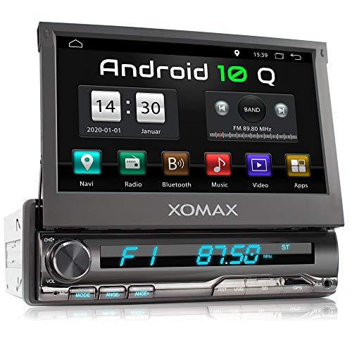 XOMAX XM-VA774 Autoradio mit Android 10, QuadCore, 2GB RAM, 32GB ROM, GPS Navigation I Support: WiFi WLAN, 3G 4G, DAB+, OBD2 I Bluetooth, 7 Zoll / 18 cm Touchscreen, USB, SD, AUX, 1 DIN