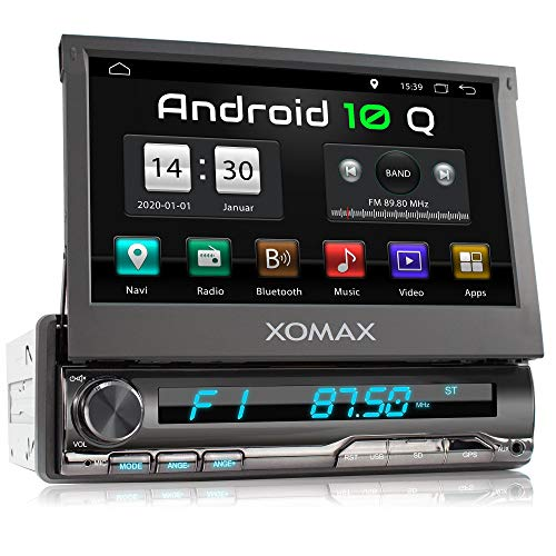 XOMAX XM-VA774 Autoradio mit Android 10, QuadCore, 2GB RAM, 32GB ROM, GPS Navigation I Support: WiFi WLAN, 3G 4G, DAB+, OBD2 I Bluetooth, 7 Zoll / 18 cm Touchscreen, USB, SD, AUX, 1 DIN