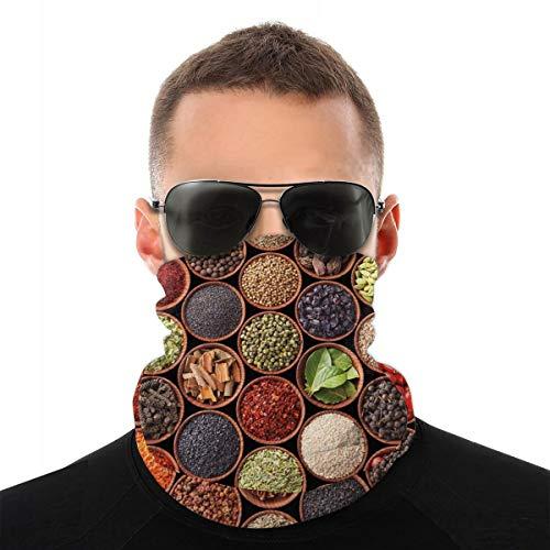 WANGKG Cubierta facial, polaina para el cuello, hierbas coloridas y especias cardamomo pimienta chile jengibre eneldo cocina natural, pasamontañas, bufanda