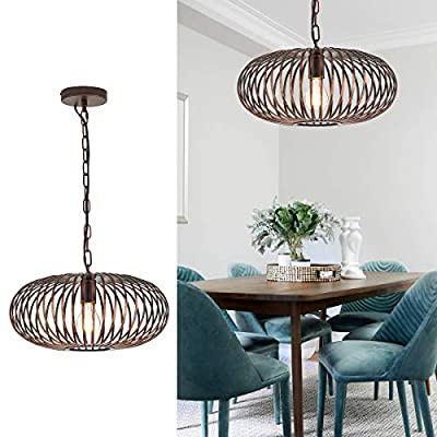 YLONG-ZS Round Pendant Light Hanging Lantern Lighting Fixture for Kitchen and Dining Room, Industrial Retro Iron Chandelier Fixture,E26 Base, Bronze (Bulbs Not Included)