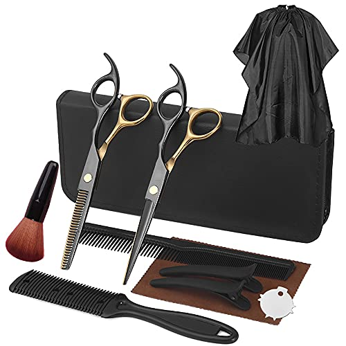 Hair Cutting Scissors Kits Sets,11 PCS Stainless Steel Hairdressing Shears Set Professional Thinning BarberScissors Texturizing Salon Razor Edge Scissor with Comb and Case 6.7'' (Black+Gold)