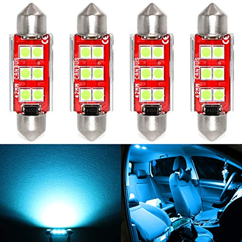 Phinlion Super Bright 578 LED Ice Blue Bulb 3030 6-SMD Festoon 41mm 42mm 211-2 212-2 214-2 Bulbs for Car Interior Map Dome Trunk Courtesy Light, Ice Blue (4 Pack)