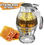 Honey Dispenser No Drip Glass with Stainless Steel Top - Syrup Dispenser Glass - Beautiful Honey Pot...