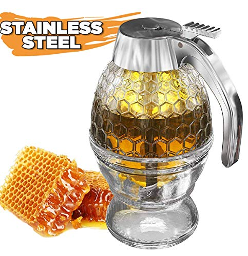 Honey Dispenser No Drip Glass with Stainless Steel Top - Syrup Dispenser Glass - Beautiful Honey Pot - Honey Jar with Stand by Hunnibi