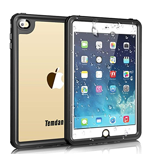 iPad Mini 4 Waterproof Case, Temdan iPad Mini4 Waterproof Case with Adjustable Tablet Stand Built-in Screen Protector Rugged Waterproof Shockproof Case Compatible for iPad Mini 4 (7.9inch)-Black/Clear