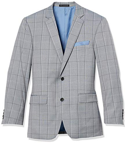 Perry Ellis Mens Sport Coat, Light Blue Plaid, 42 Regular