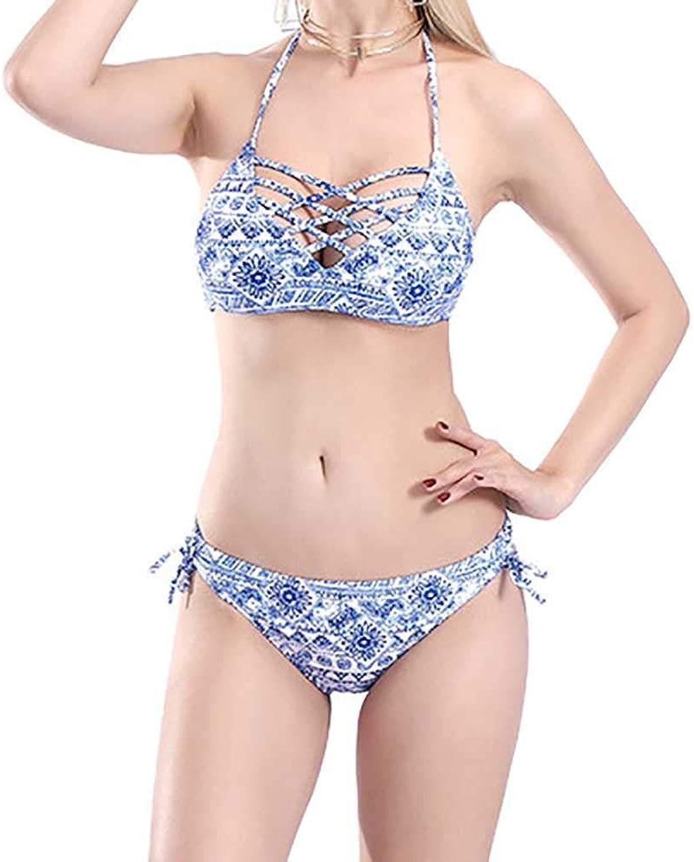Swimwear Women Two Piece Swimwear Halter Deep V Hollow Tops Sling Bikini Swimsuits Suit (color   1, Size   M)