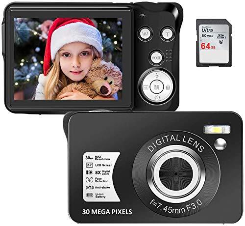Cámara de fotos digital de 2,7 pulgadas HD 1080P 30 MP de bolsillo compacta con zoom 8 x cámara DV anti-shake recargable para adultos estudiantes niños (64 GB SD incluida)
