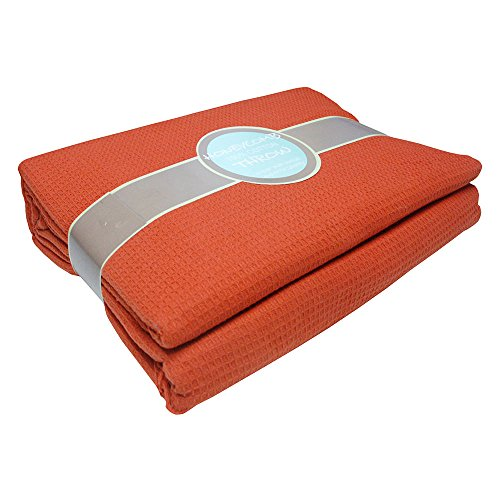 Tony's Textiles Large Size Terracotta Orange 100% Cotton Traditional Woven Honeycomb Waffle Chair Sofa Settee Bed Blanket Throw Over Cover Bedspread (90