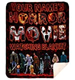 DesDirect Store Personalized Horror Movie Watching Scary Friday Zombie Custom Name Blanket Premium Mink Sherpa Blanket 60'x80'