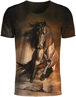 3D Animal Men T Shirts The Running Horse Men T Shirts Casual Short Sleeve Tees Tops