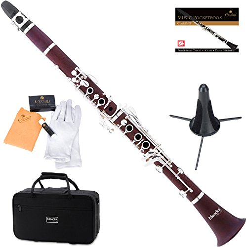 Mendini by Cecilio Bb Rosedwood Clarinet w/ 1 Year Warranty, Stand, Tuner, 10 Reeds, Pocketbook, Mouthpiece, Case