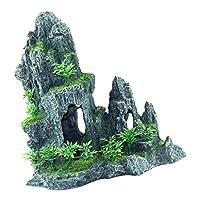 魚タンク景観装飾 水槽シーン 爬虫類隠れ洞窟 ロック シェルター 築山 人工水草 緑景 置物