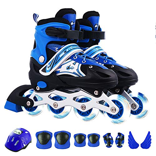 HAIRCURLER Inline Skates for Kids, Adjustable Inline Skates with Featuring All Illuminating Wheels, Safe and Durable Inline Skates, Fashionable Roller Skates Best Gift for Children'sBlue-L 38~42