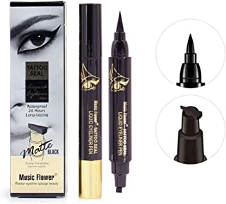Official Eyeliner Winged Stamp Pen Tattoo Seal Matte Black Waterproof 24H Long-lasting Smudge-proof Quick-Dry (Triangle)
