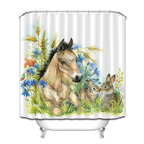 LGY Haus Dekoration. Skizze. Pferd Und Hase. Weizen. Duschvorhang 180X180Cm. 3D Hd-Druck. Wasserdichtes Gewebe Freier Haken. Geben Sie 12 Haken Frei.