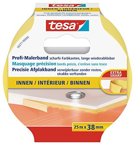 tesa Profi-Malerband INNEN - Dünnes Abdeckband für extrem präzises Abkleben bei Malerarbeiten, lösungsmittelfrei - 25 m : 38mm
