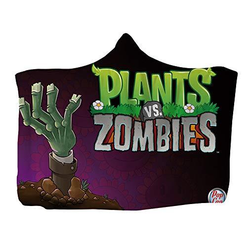 MYLZZ Plants Vs. Zombies - Manta con capucha (franela de doble cara, cálida y esponjosa, microfibra, apta para niños, adultos, interiores y viajes (L3,130 x 150 cm)