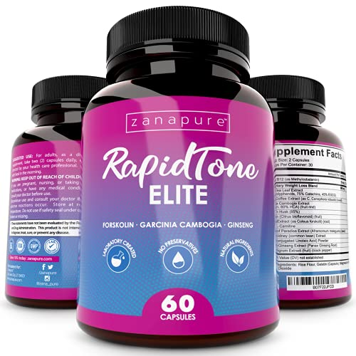 Zanapure Rapid Tone Elite - Garcinia Cambogia, L-carnitine, Ginseng, Forskolin Supplement - for Weight Management, Fat Burner, Appetite Suppressant, for Men & Women - 60 Vegan Capsules
