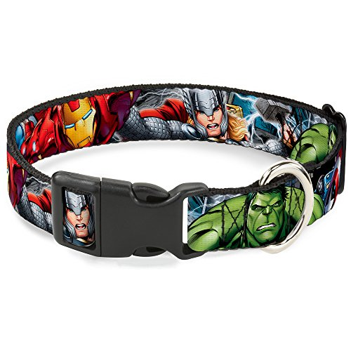 Buckle-Down Plastic Clip Collar - Marvel Avengers 4-Superhero Poses CLOSE-UP - 1.5' Wide - Fits 18-32' Neck - Large