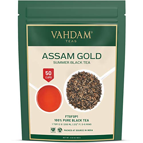 VAHDAM, Assam Gold Second Flush, 100 gramos (50 tazas) | RICO & DE MALTA ASSAM TEA Hojas sueltas | Hojas sueltas de te negro 100% puro no reforzado | Hojas de te negro con puntas doradas.