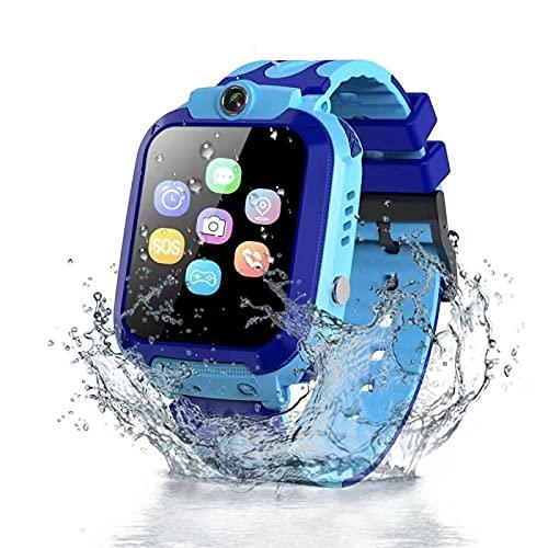 Vannico Kinder Smartwatch - LBS IP68 Wasserdicht SOS Telefon HD Touch Kamera Wecker Spiele Rekorder Kinderuhr Uhr Kinder Uhren Geschenke Geburtstagk Jungen Mädchen (Doppelblau)