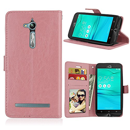 Fatcatparadise Kompatibel mit Asus ZenFone GO TV ZB500KL / KG Hülle + Bildschirmschutz, Flip Wallet Hülle mit Kartenhalter & Magnetverschluss Halterung PU Leder Hülle handyhülle (Rosa)
