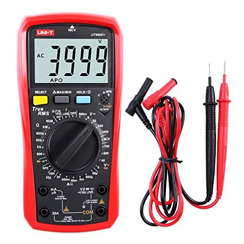 Multimeter UNI-T UT890D+ Effektivwert Voltmeter Amperemeter Ohmmeter AC/DC-Zählerstrom Spannungswiderstand Frequenz Durchgangskapazitätsdiode (Unterscheiden zwischen Nulllinie und Feuerlinie)