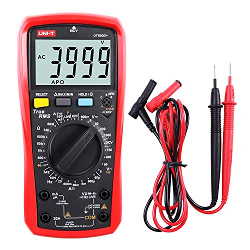 Multímetro UNI-T UT890D+ True RMS Voltímetro Amperímetro Ohmímetro Medidor AC/DC Corriente Voltage Resistencia Frecuencia Continuidad Capacitancia Diodo (Distinguir entre Cable Fase y Neutro)