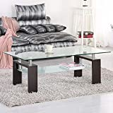 Mecor Rectangle Glass Coffee Table-Brown Modern Side Coffee Table with Metal Legs-Suit and Lower Shelf for Living Room