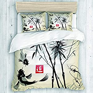 NOLOVVHA Bedding Juego de Funda de Edredón,Dibujado a Mano con Tinta de bambú en el pájaro Pintura Tradicional Japonesa,Microfibra SIN Relleno,(Cama 220x240 + Almohada)