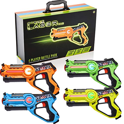 Strike Laser Tag Guns Set - 4 Multi-Player Pack & Deluxe Carry Case - Kids Infrared Blaster Playset