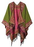 Women's Fashionable Retro Style Vintage Pattern Tassel Poncho Shawl Cape (series 2-Green)