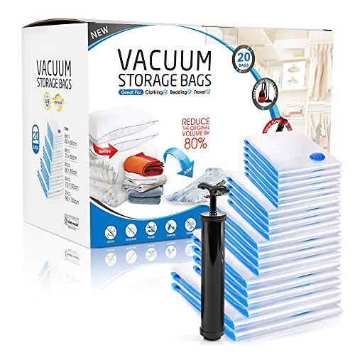 MASTERTOP 20er Vakuumbeutel mit Handpumpe, in 5 verschiedene Größen, Aufbewahrungsbeutel spart Platz bis zu 80%, Reise Vacuum Beutel funktioniert für Kleidung, Bettdecken,Bettdecken, Blau