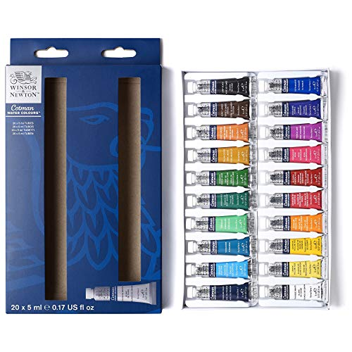 Winsor & Newton Cotman Set iniciación acuarela 20x5ml, Multicolor, 20 colores tubos de 5ml